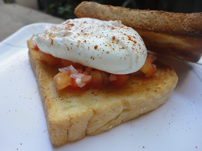 Poach Egg on a Bed of Fresh Tomato Salsa and Buttered-toasted Bread