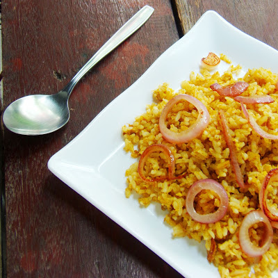 Curry Fried Rice with Caramelized Onion Rings