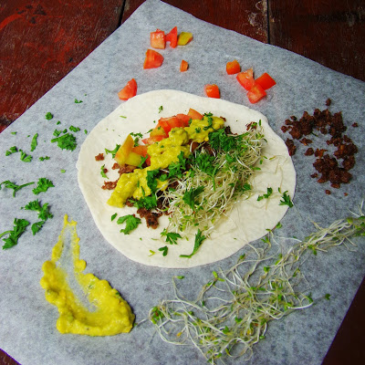 Pork Tortilla Wrap with Alfalfa Sprout and Mashed Avocado