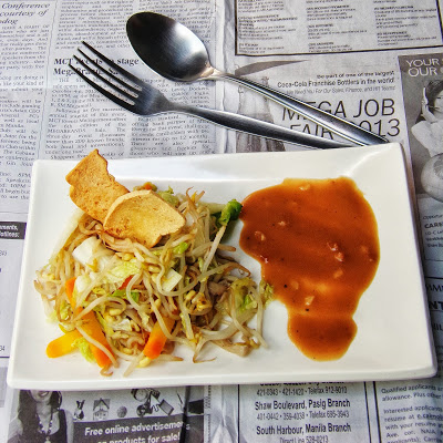 Sauteed Bean Sprout in Peanut Sauce with Crispy Tofu