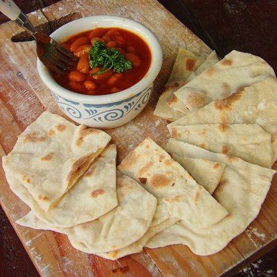 Flat Bread and Pork and Beans Dipping