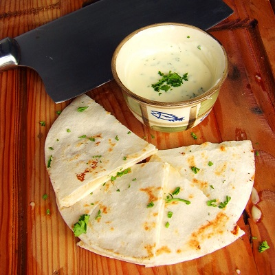 Quesadilla with Caramelized Onion