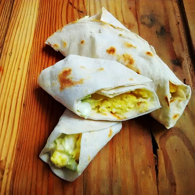 Egg and Coleslaw Wrap Pita Bread
