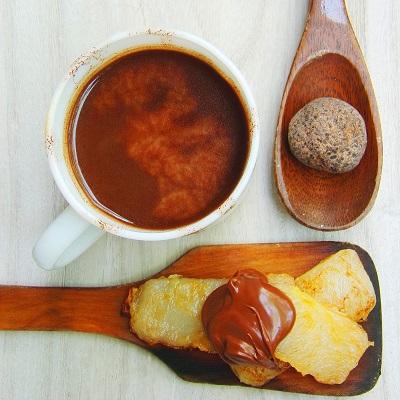 Hot Choco and Fried Tikoy with Chocolate Hazelnut Spread